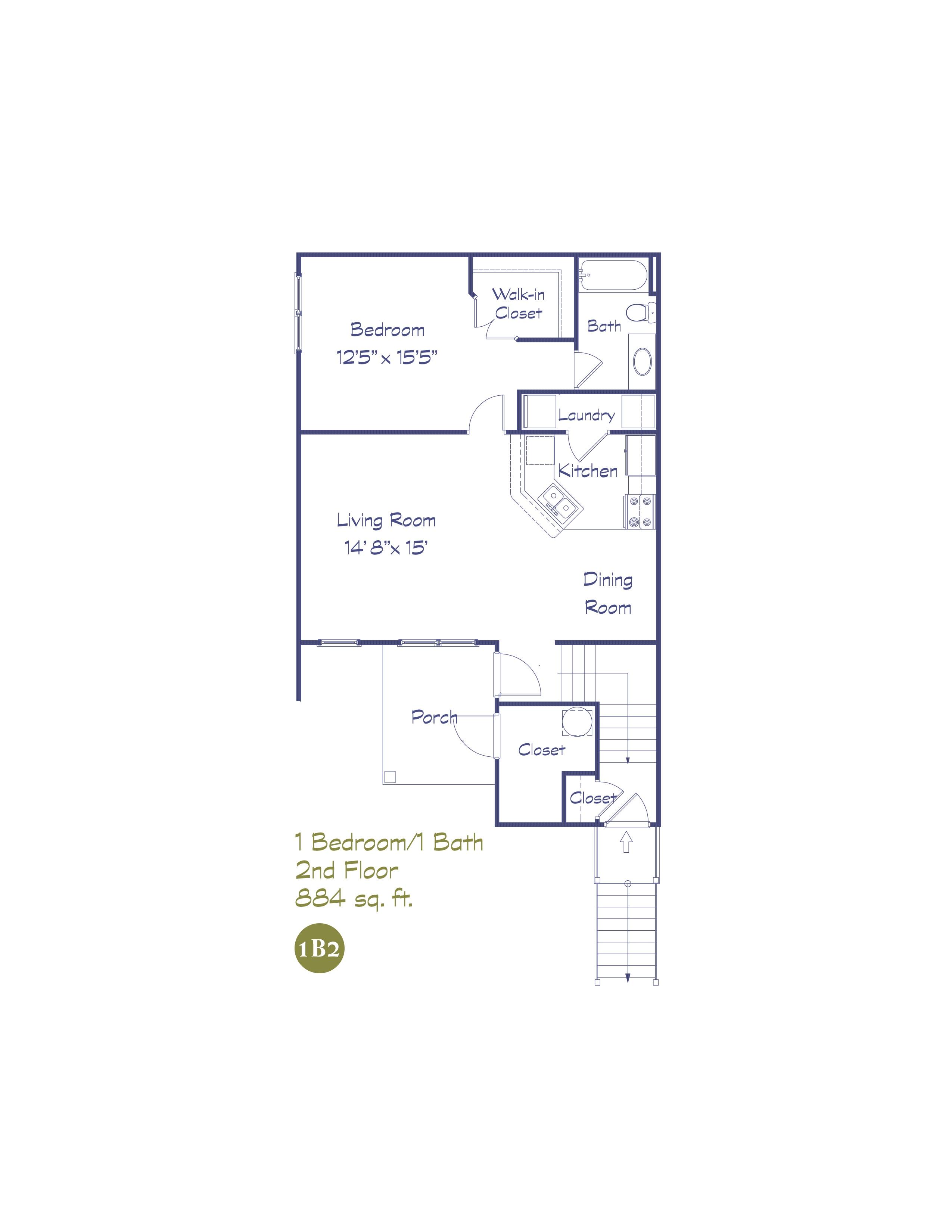 1B2 One Bedroom - 2nd Floor
