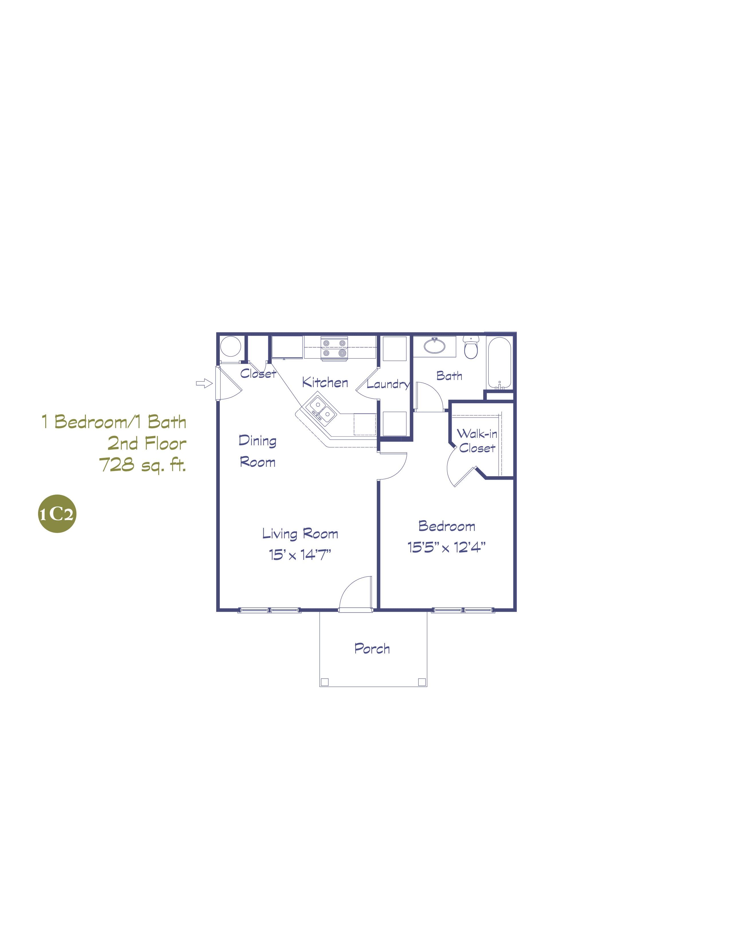 1C2 One Bedroom - 2nd Floor